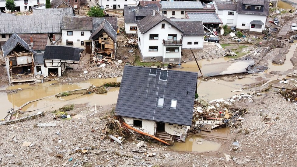 A general view of flood-affected area following heavy rainfalls in Schuld, Germany