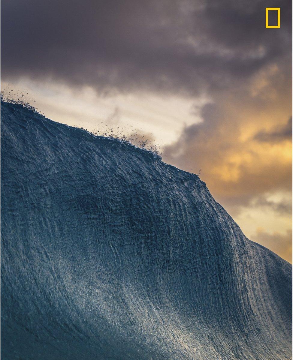 A large wave is seen before it breaks