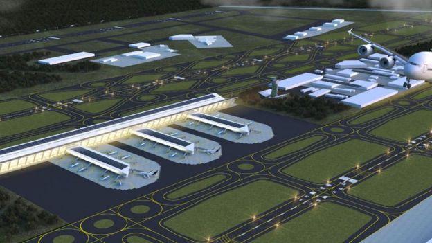 Imágenes digitales que muestran el terminal aéreo de Santa Lucía.