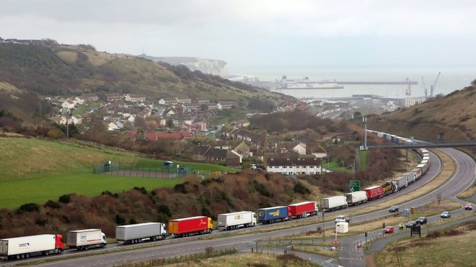 Lorries queuing to get into Dover