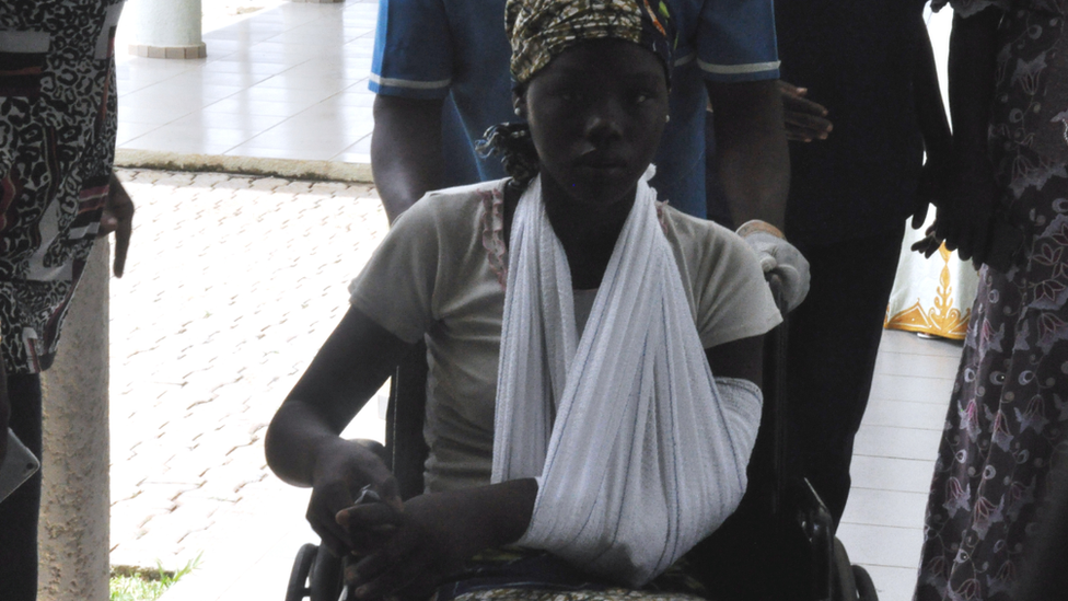 One of the released girls at a medical centre