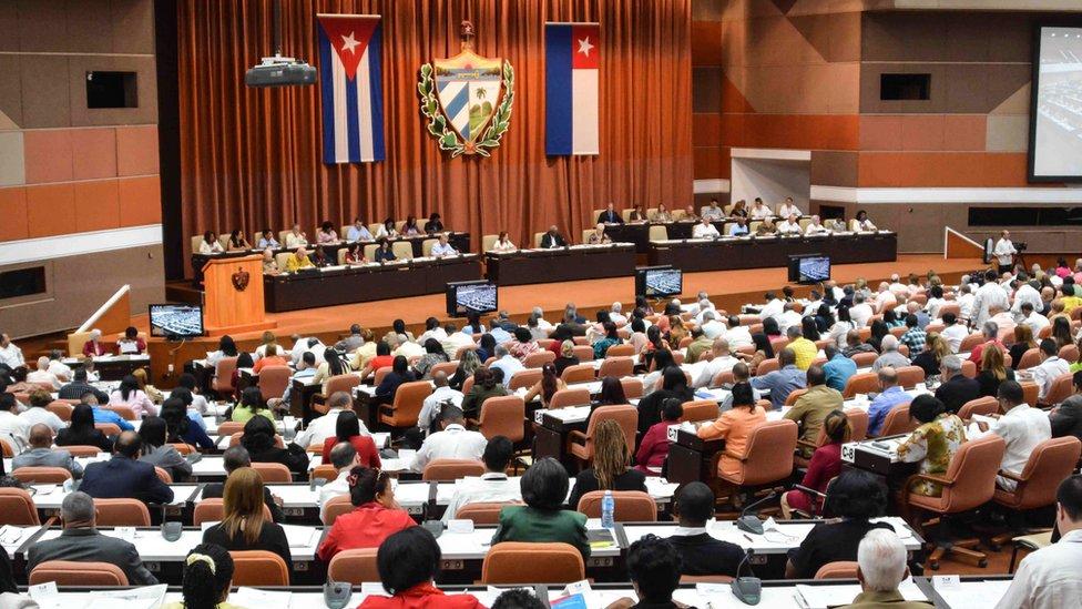 El parlamento cubano en la primera sesión bajo el nuevo gobierno del presidente Miguel Díaz-Canel, en el Palacio de Convenciones de La Habana, el 2 de junio de 2018.