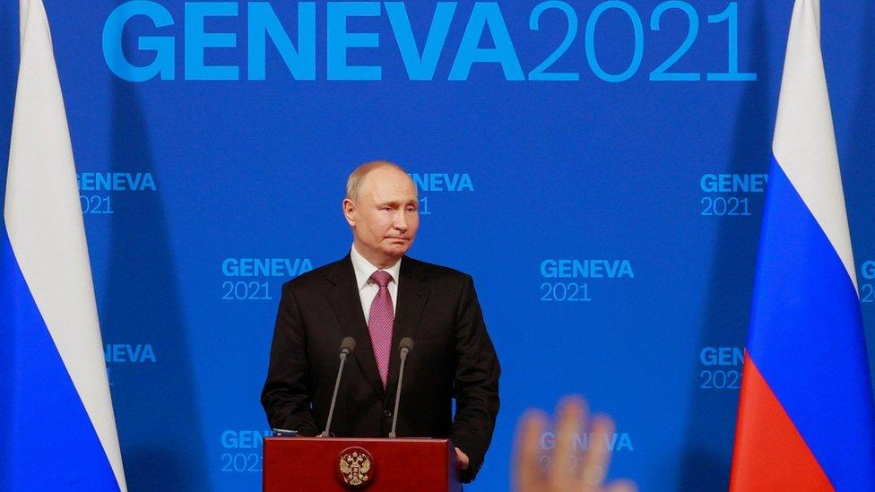 President Vladimir Putin holds a news conference after the U.S.-Russia summit with U.S. President Joe Biden at Villa La Grange in Geneva, Switzerland, June 16, 2021.