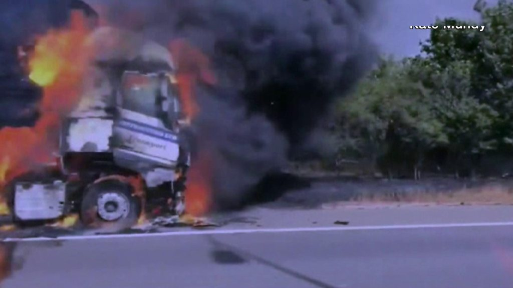 Lorry engulfed in flames on M5 in Worcestershire