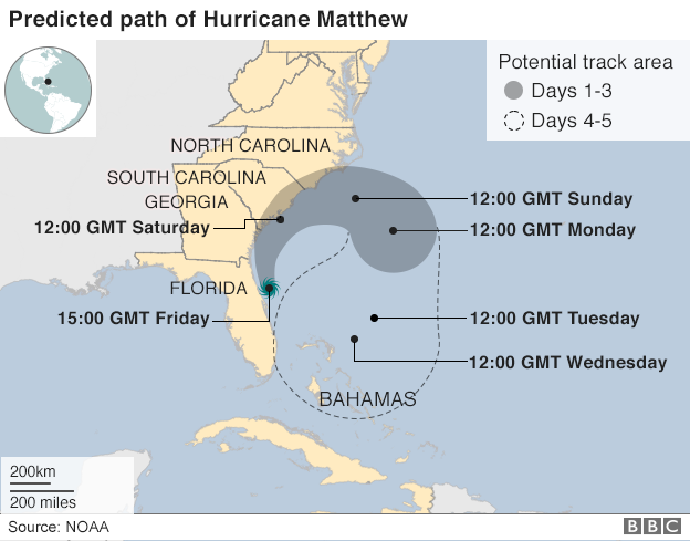 Map shows Hurricane Matthew's path from the Bahamas heading towards Florida and other US eastern states