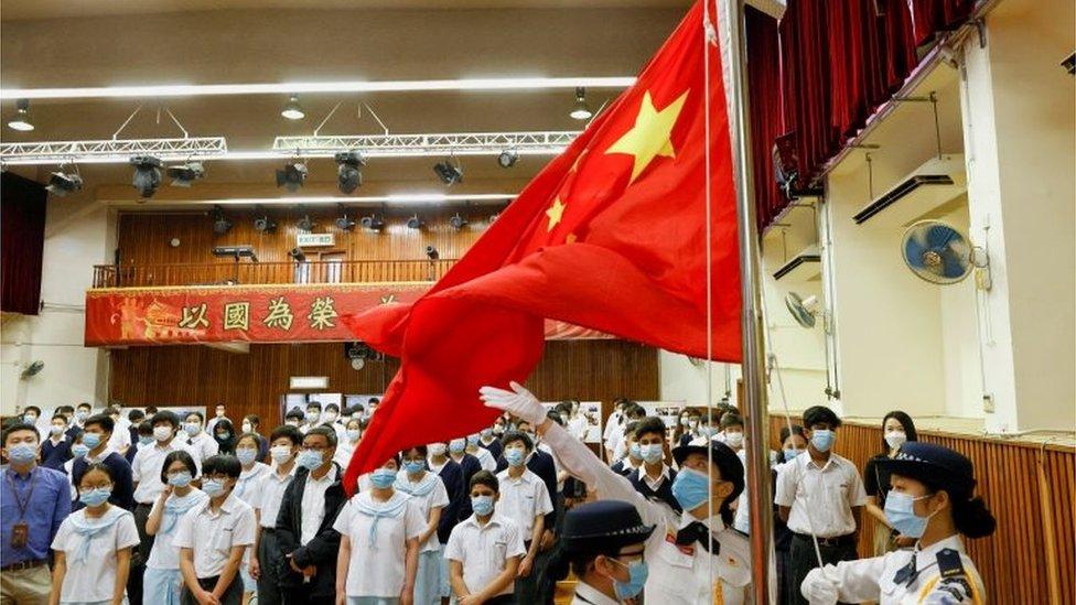 香港學生們參與國家安全日的活動。