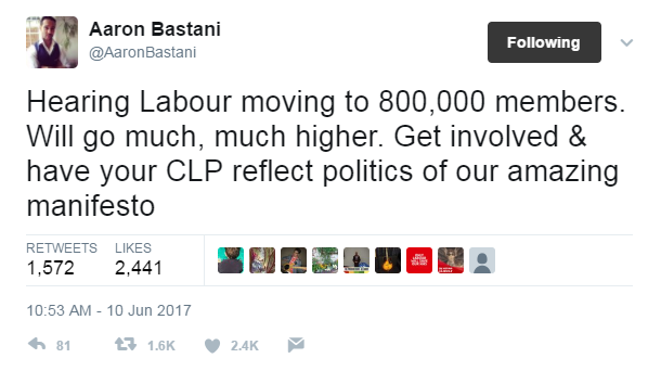Tweet, saying that Labour now has 800,000 members