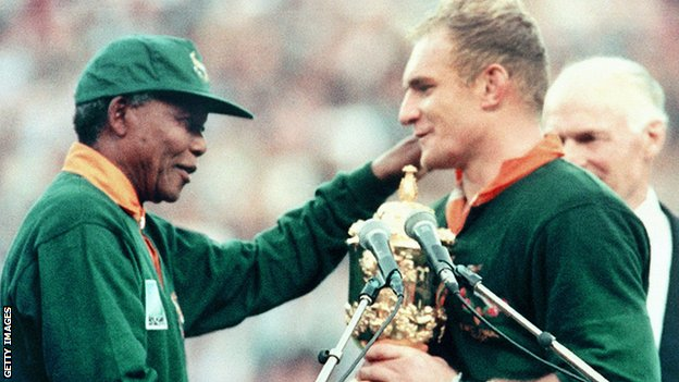 Nelson Mandela was elected as president in 1994, the year before South Africa's historic maiden Rugby World Cup victory