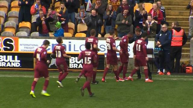 Kyel Reid puts the Bantams in front against Southern League Chesham.