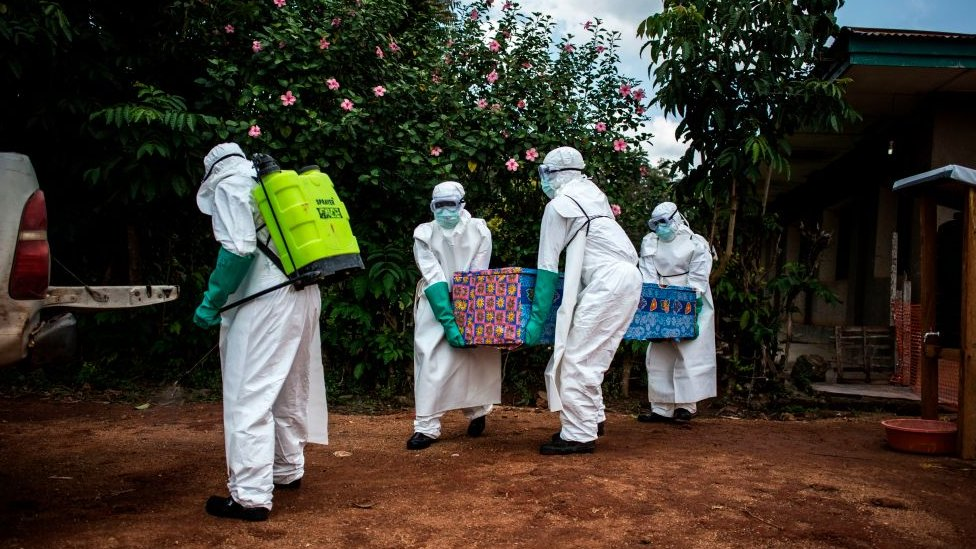 Health workers remove the body of a suspected Ebola victim in North Kivu province, DR Congo