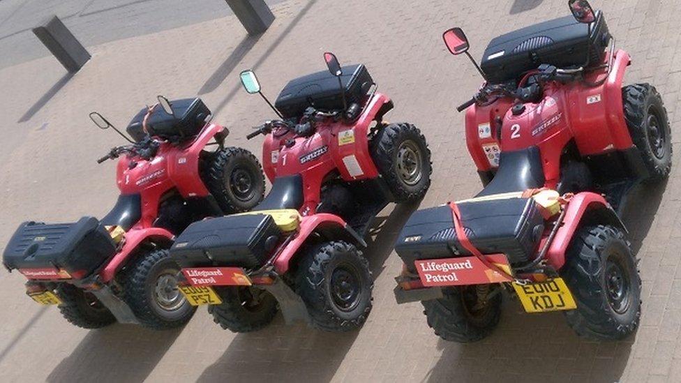 The seafront team's quad bikes