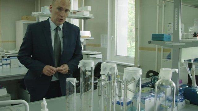 Dan Roan inside Moscow drug-testing lab