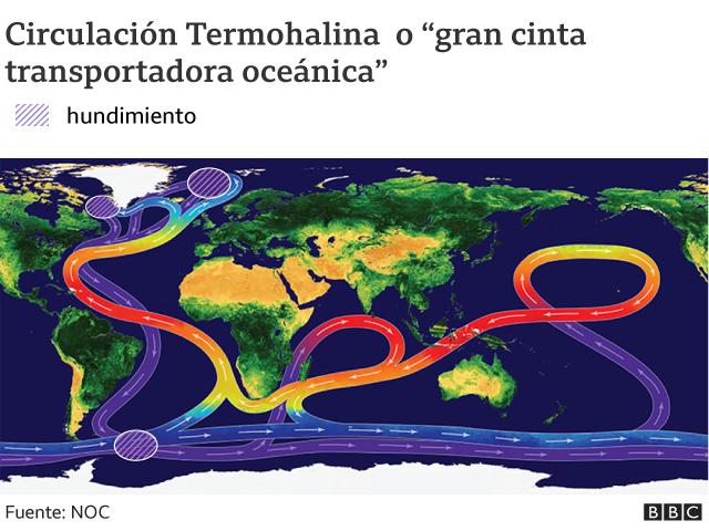 Mapa del planeta con flechas que muestran las corrientes en los océanos