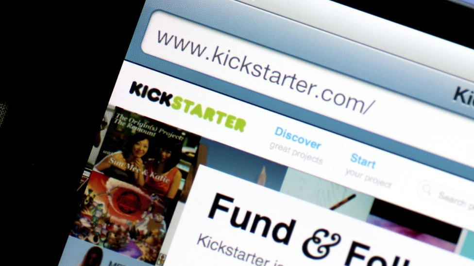 Kickstarter front page of web