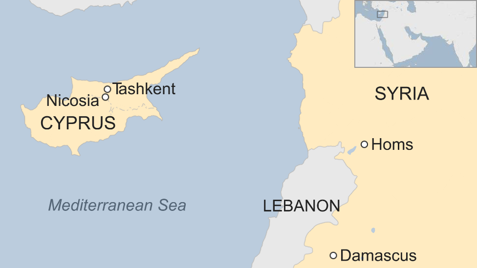 Map showing Cyprus and Syria