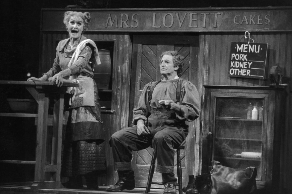 Sheila Hancock and Dennis Quilly in the musical Sweeney Todd by Stephen Sondheim