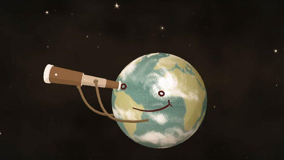 Animación de tierra con telescopio
