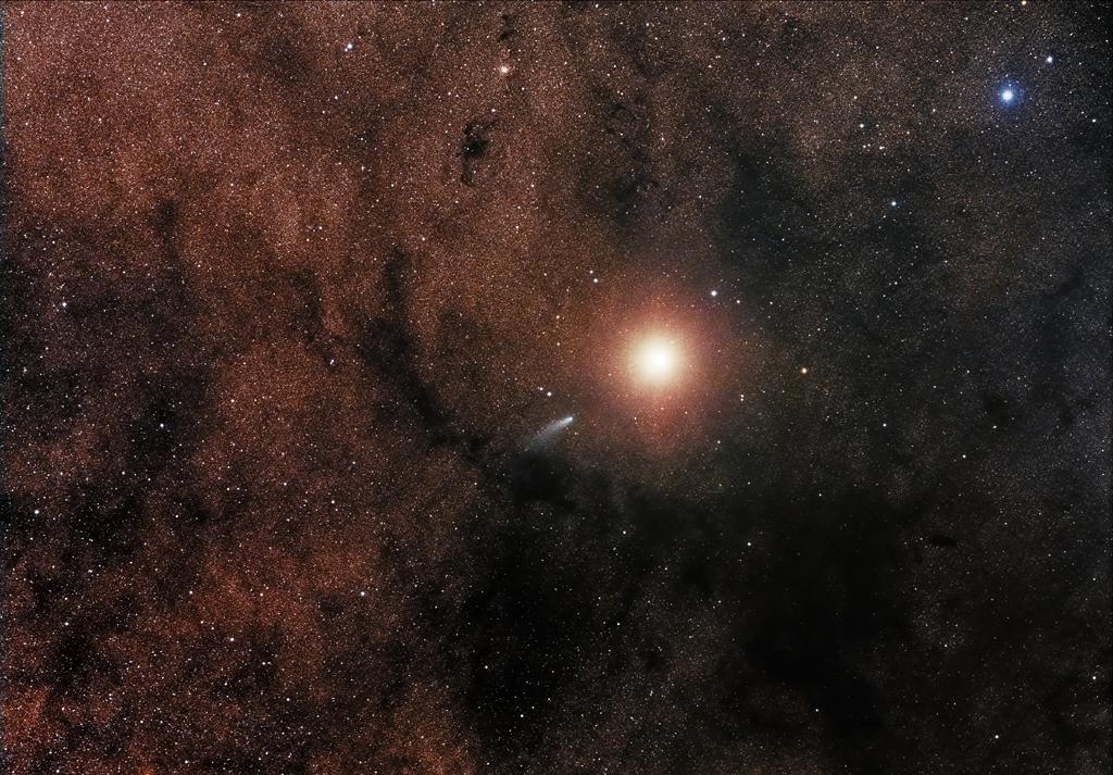 Comet C/2013 A1 alongside Mars - by Sebastian Voltmer (Robotic scope)