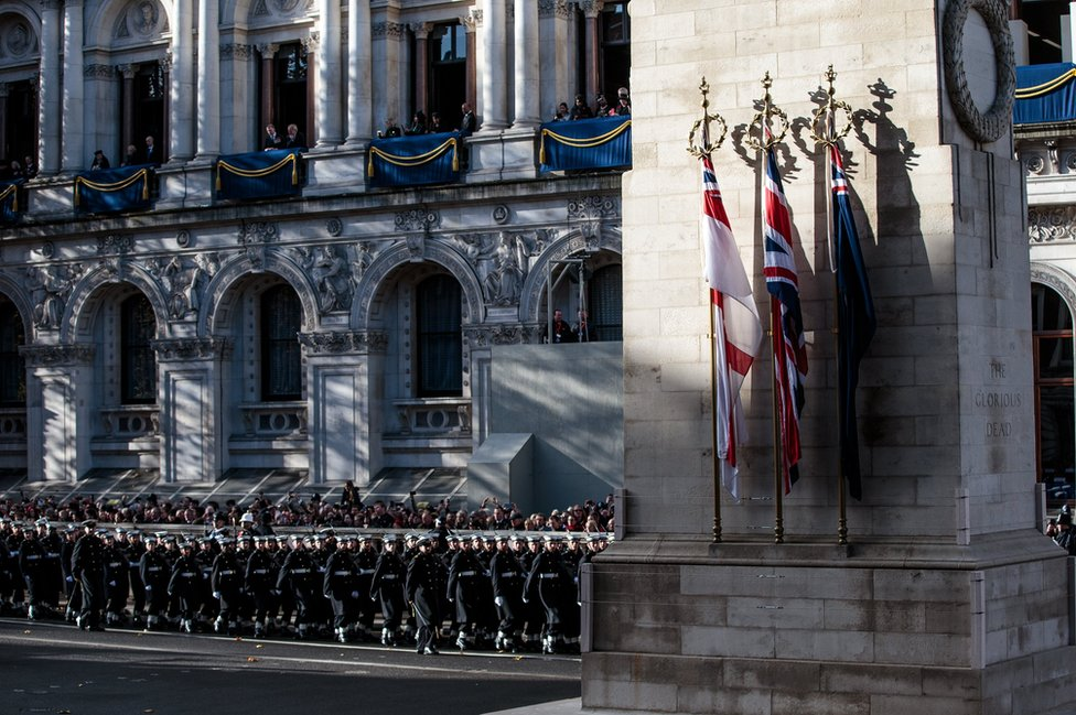 The veterans march past the Cenotaph