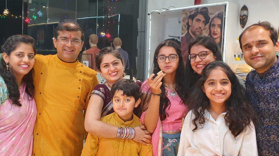 Priyanka Miglani (centre) and family