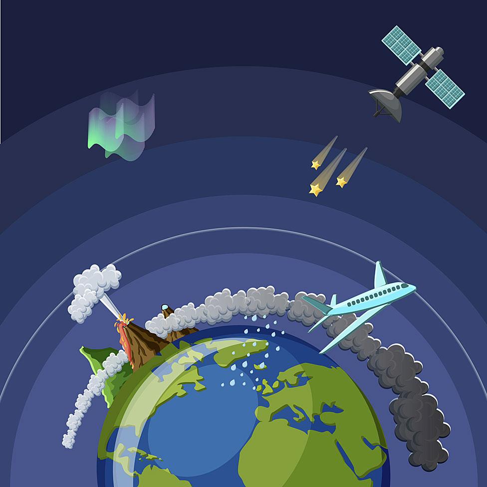 Dibujo de la tierra con capas atmosféricas