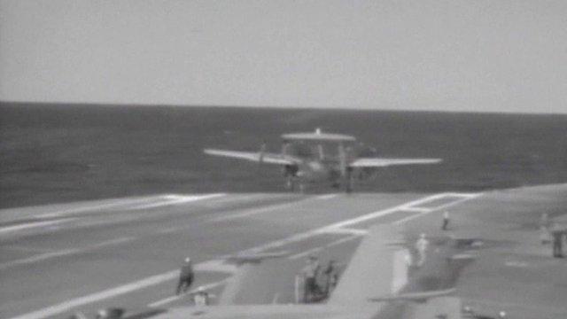 US Navy plane overshoots carrier