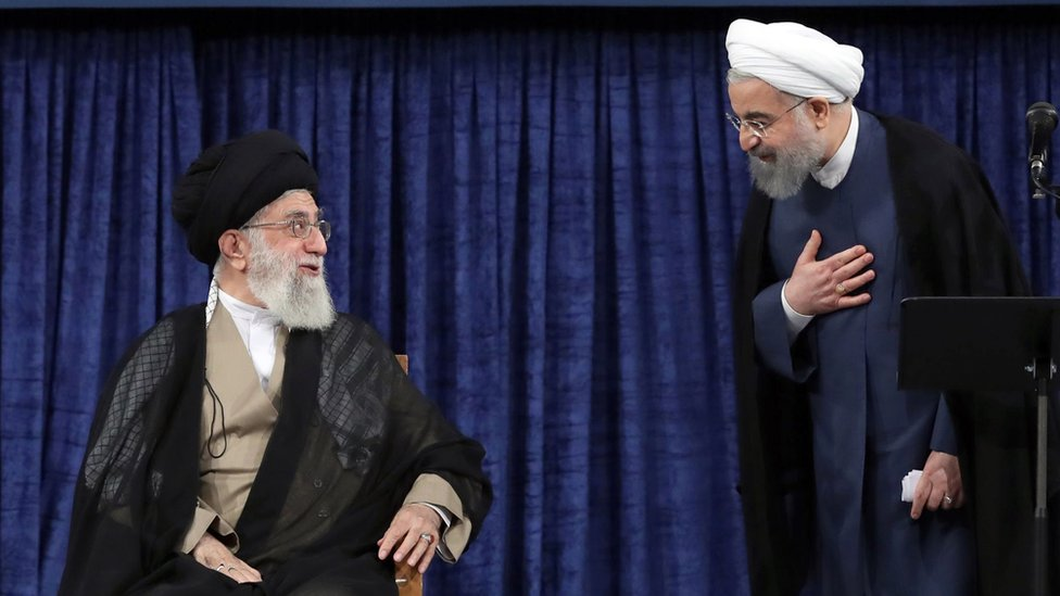 Supreme Leader Khamenei (L) and Rouhani (R)