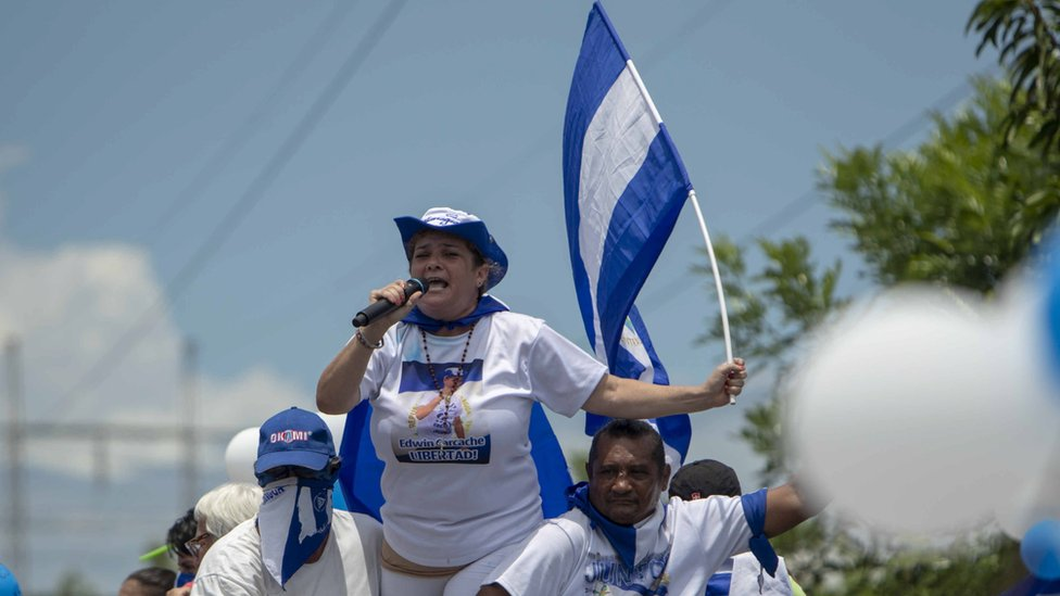 "Edwin Carcache's mother, Mercedes Dávila, speaks at the ""March of the Balloons"" held in Managua, Nicaragua on 9 September 2018."