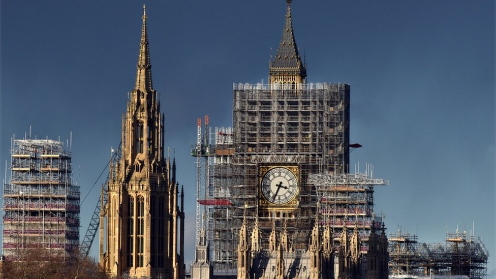 Parliament under scaffolding