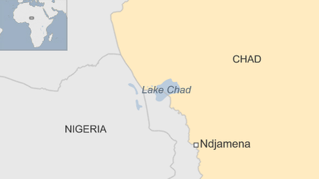 A map showing Lake Chad, Nigeria and Chad