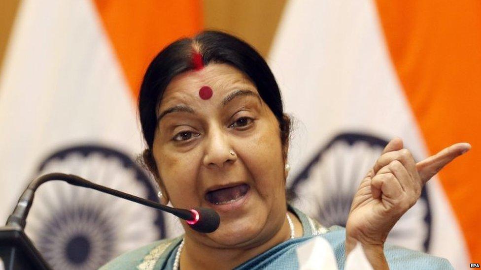 Indian Minister of External Affairs Sushma Swaraj in Delhi (22 August 2015)