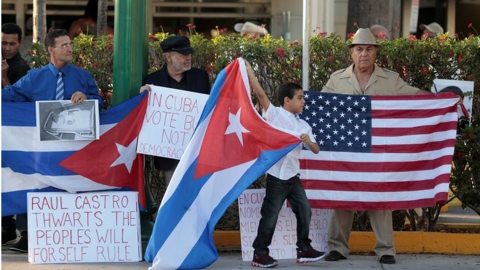 Cuban Americans protest Raul Castro leaving office as Cuba's president and Miguel Diaz Canel named as the new president, in Little Havana neighbourhood in Miami, Florida, U.S., April 19, 2018.