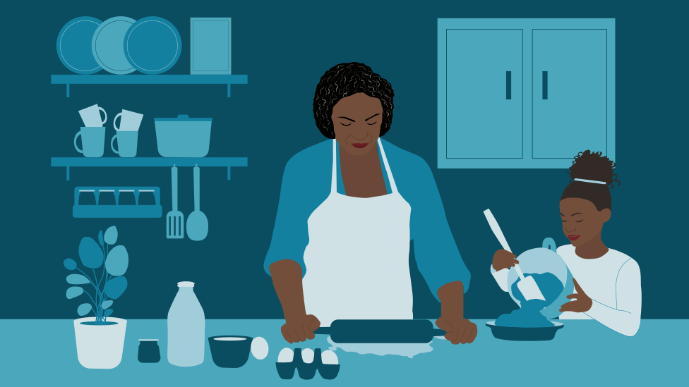 Illustration of Merlande baking with her grand-daughter