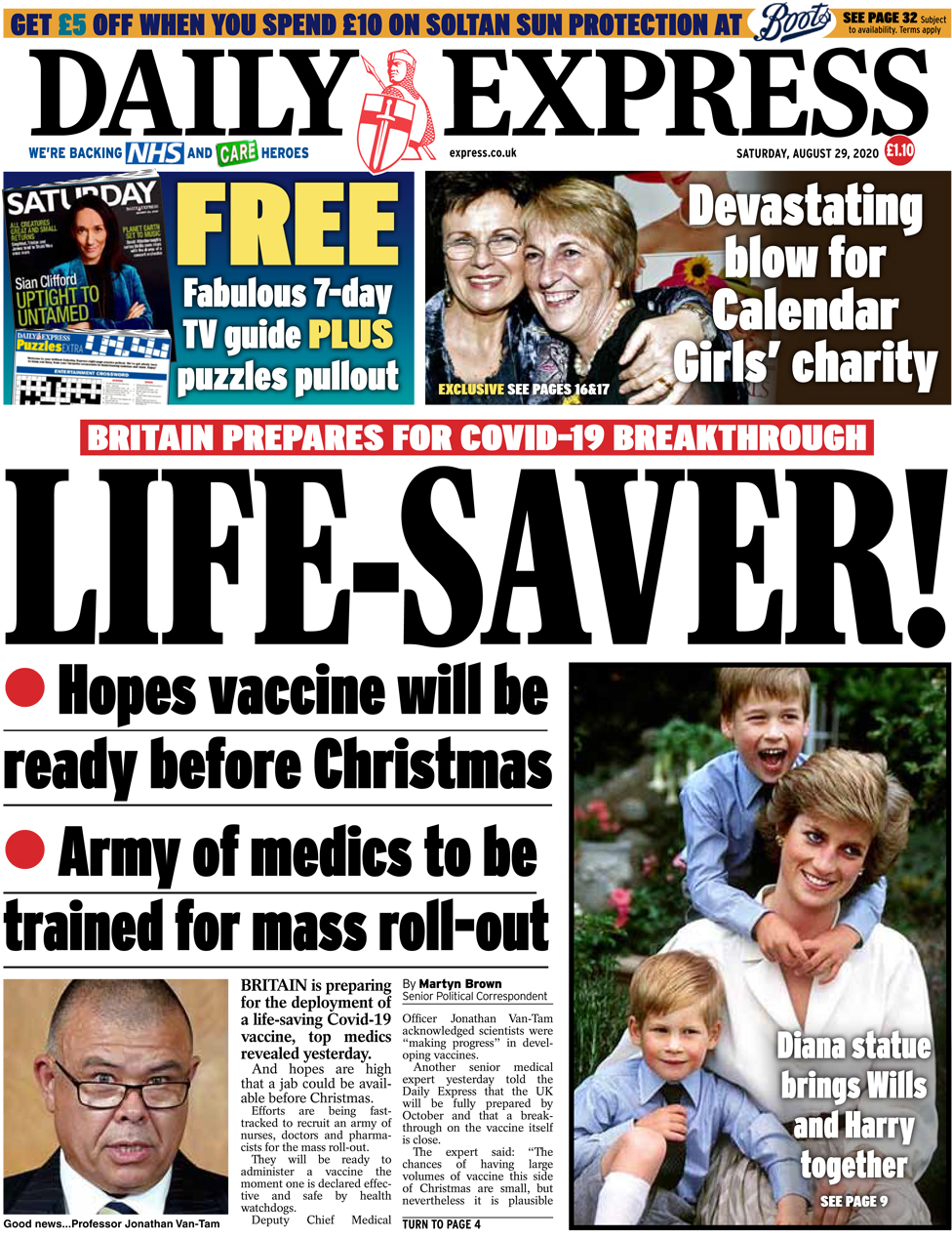 The Daily Express front page 29 August 2020