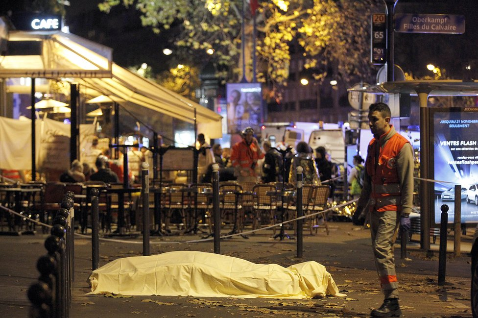A victim's body lies covered on Boulevard des Filles du Calvaire, close to the Bataclan theatre, Paris
