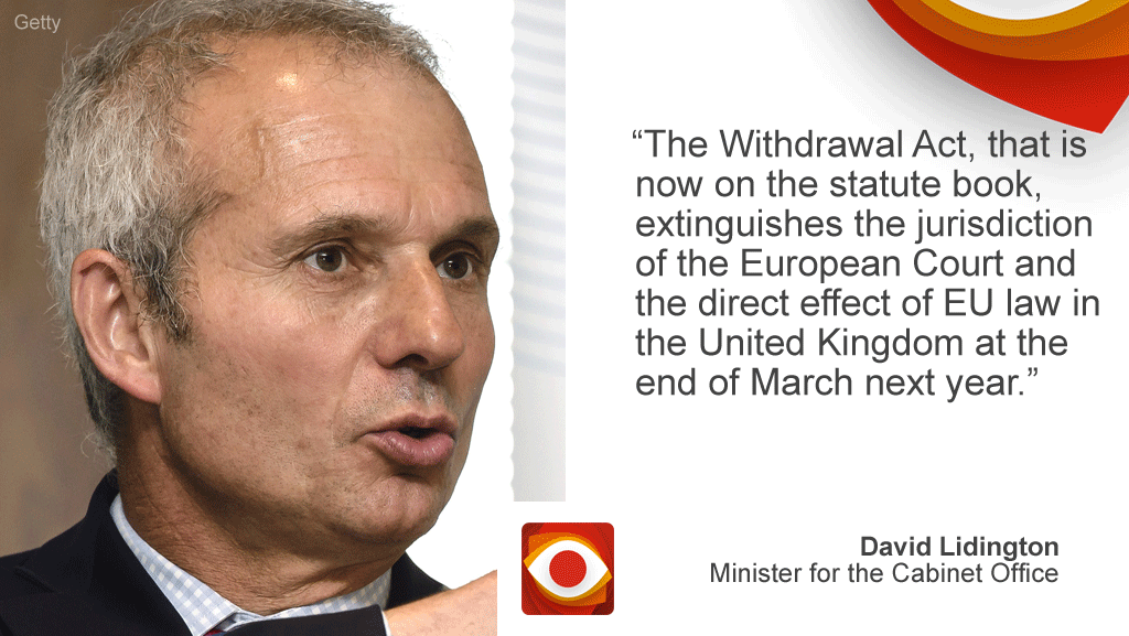 "David Lidington: ""The Withdrawal Act, that is now on the statute book, extinguishes the jurisdiction of the European Court and the direct effect of EU law in the UK at the end of March next year."""