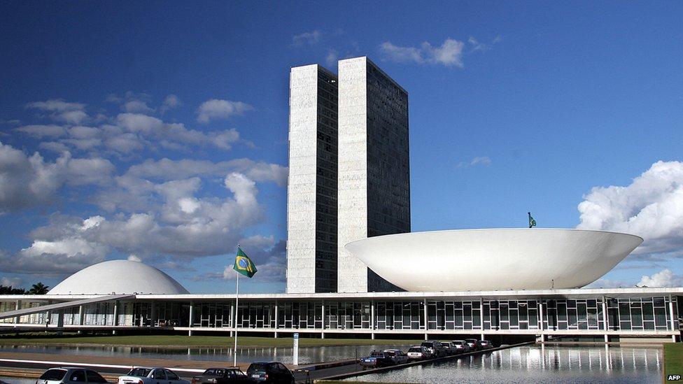 View of the Brazilian Congress in Brasilia, Brazil, on 30 May, 2005