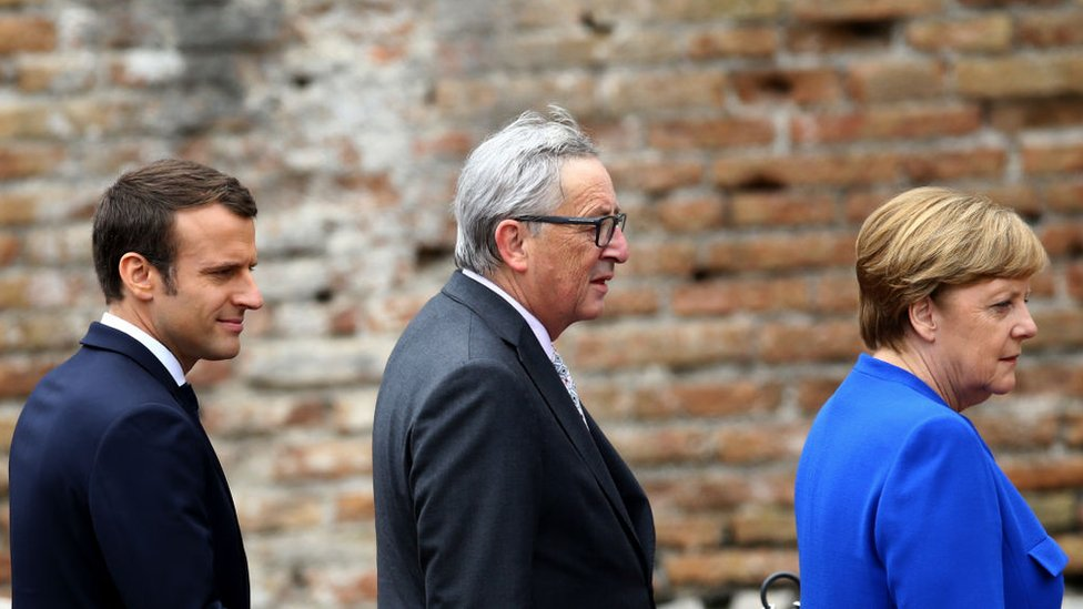Emmanuel Macron, Jean-Claude Juncker and Angela Merkel