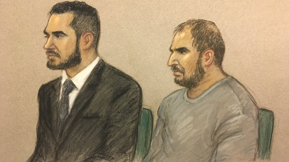 Court drawing of Vincent Tappu and Mujahid Arshid