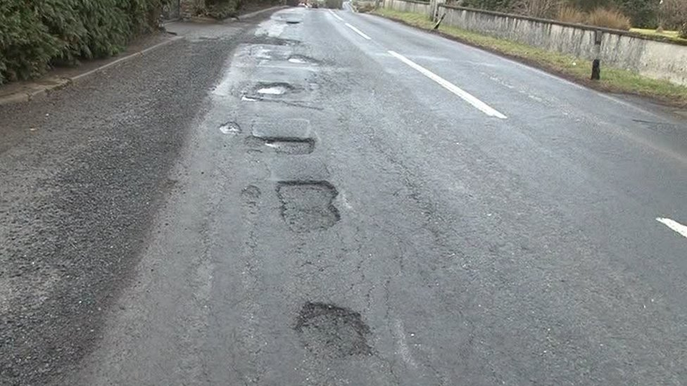 A section of a road in Omagh that vehicles have to navigate