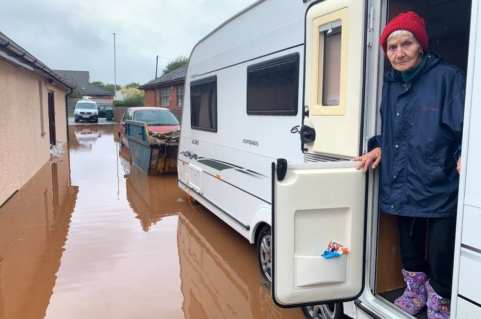 A woman has been forced to live in a caravan