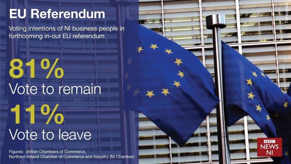 The Northern Ireland Chamber of Commerce says 81% of businesspeople would vote to stay in the EU
