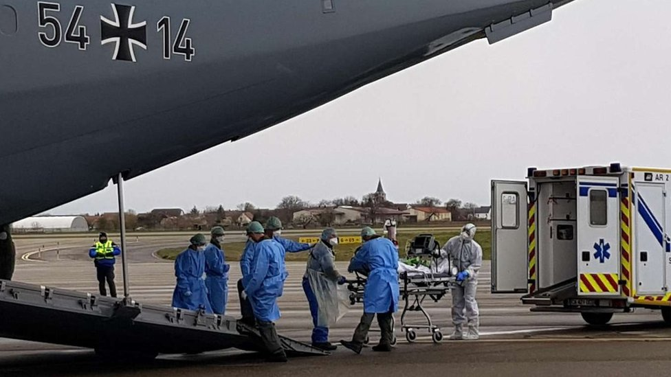 German military planes have airlifted patients from Italy and France