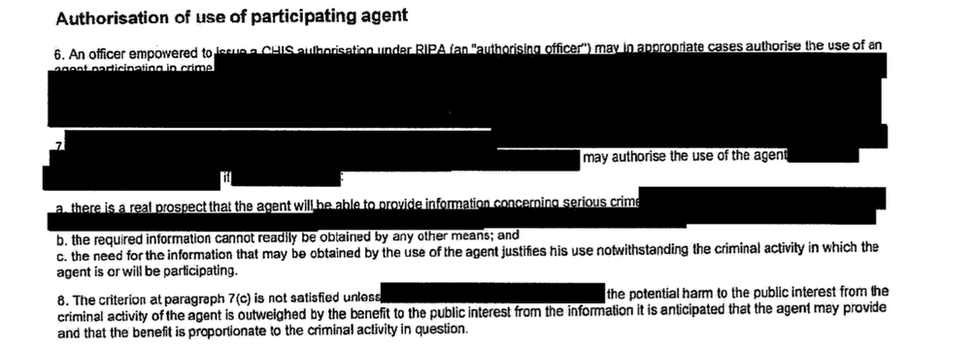 A redacted document showing policy guidance governing how MI5 can authorise its agents to commit crimes