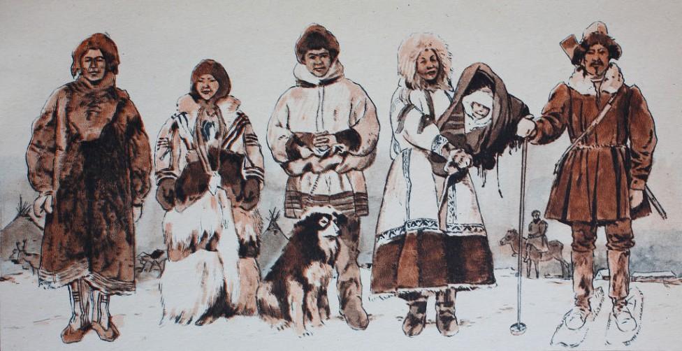 Dibujo de un grupo de esquimales
