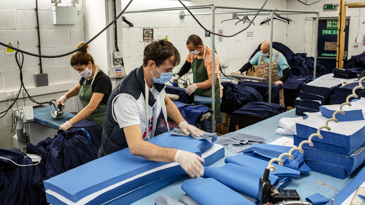 Employees at 'Fashion Enter' in London make scrubs for NHS staff on April 24 2020