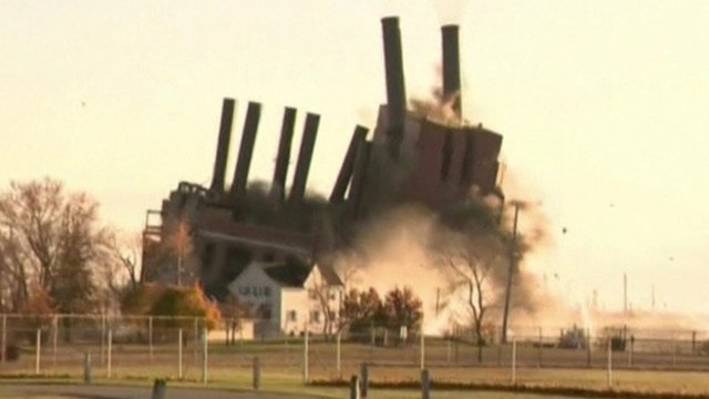 Michigan power plant brought down in controlled blast