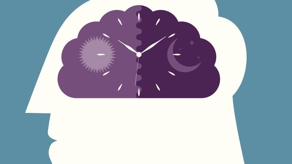 Ilustración de un reloj dentro de un cerebro.