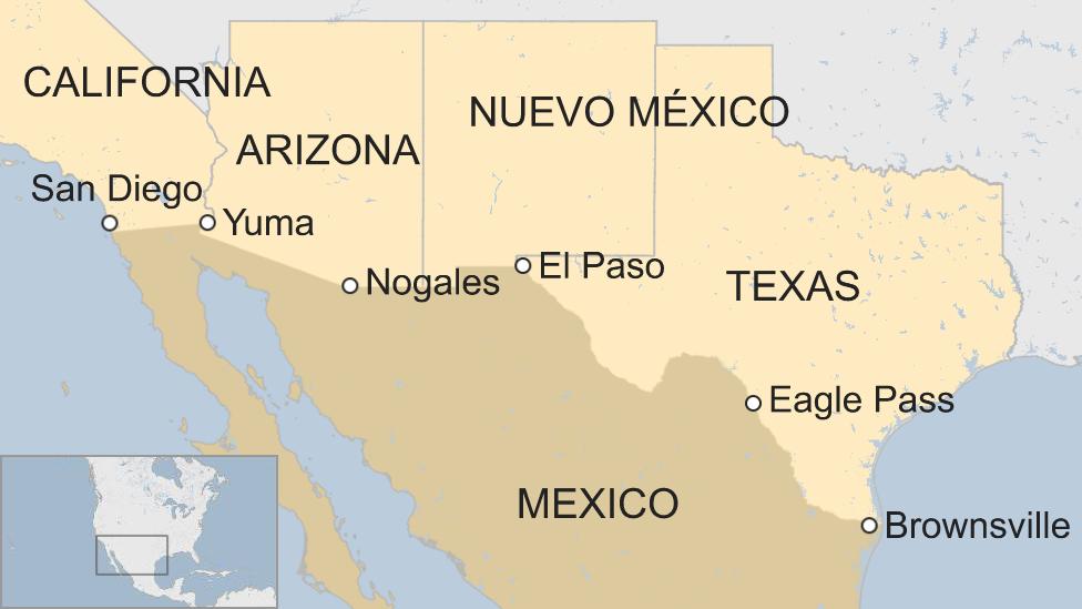 Mapa de los estados fronterizos