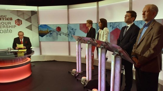 Jeremy Corbyn and his three leadership rivals during a BBC debate